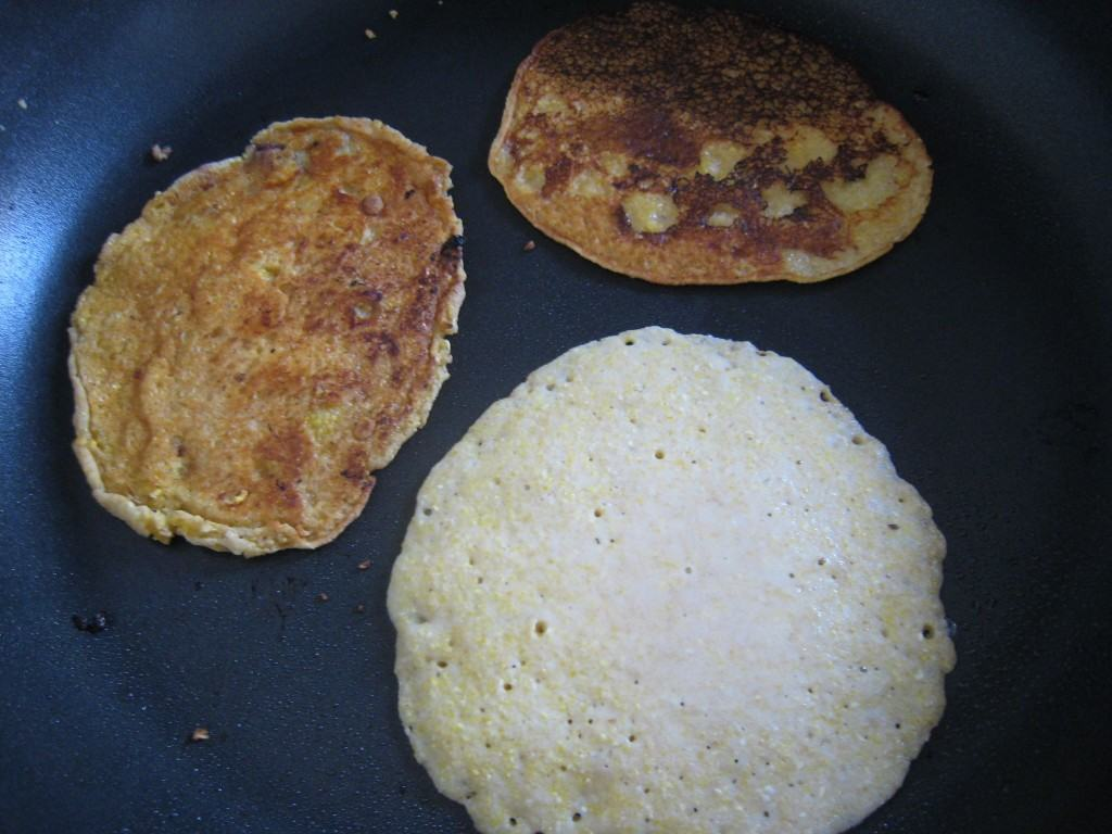corn pancakes cooking