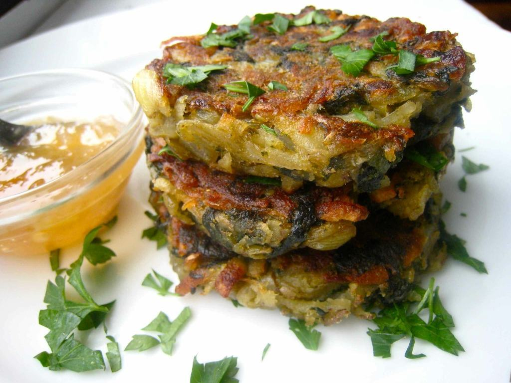 curried spinach potato pancake