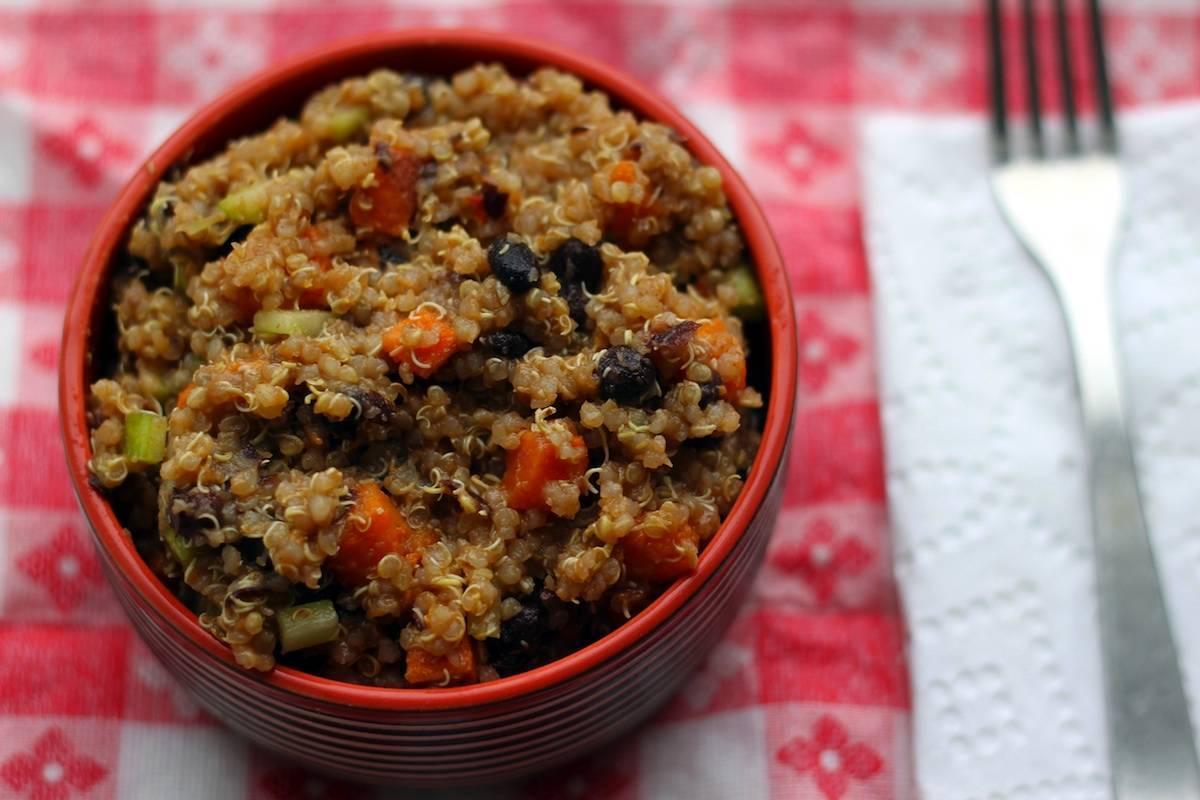 Black Bean Quinoa Salad with Yams and Chipotle Dressing